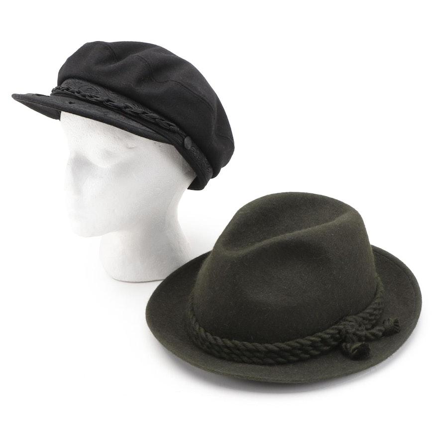 Greek Fisherman's Black Wool Felt Cap and Green Wool Short Brim Trilby Hat