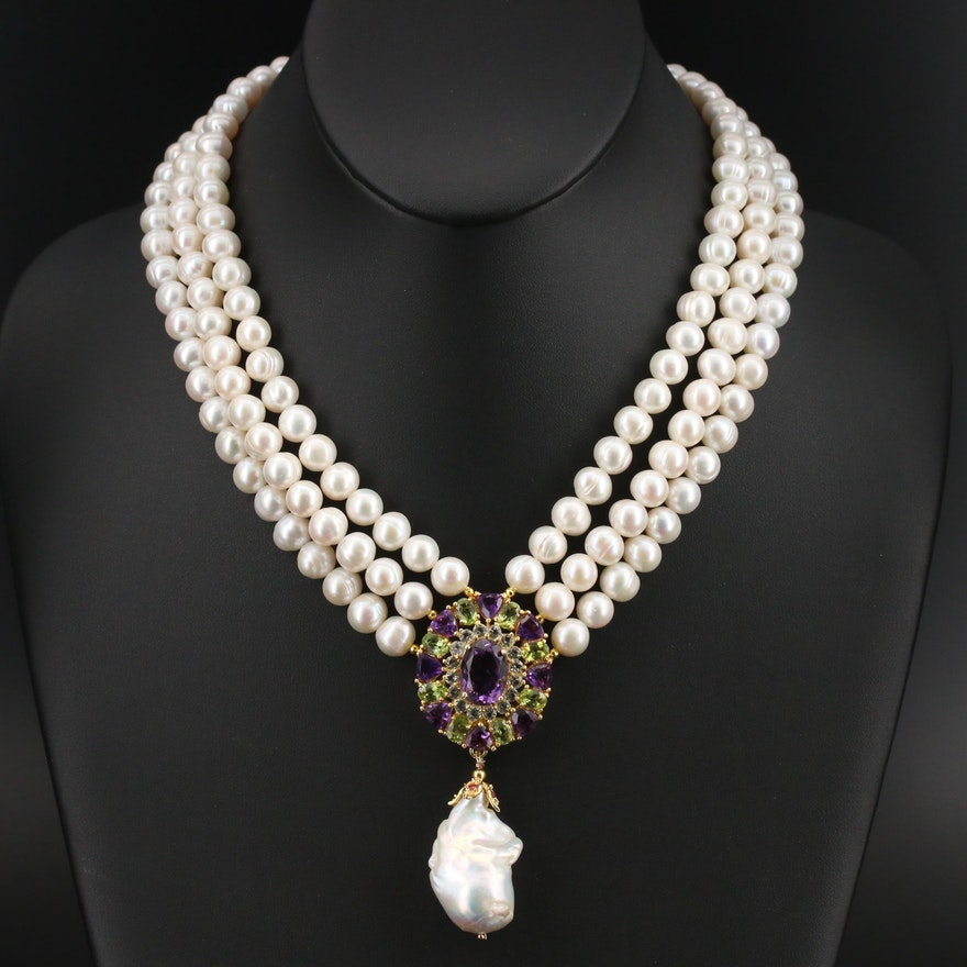 Sterling Multi-Strand Pearl Necklace with Amethyst and Peridot Pendant