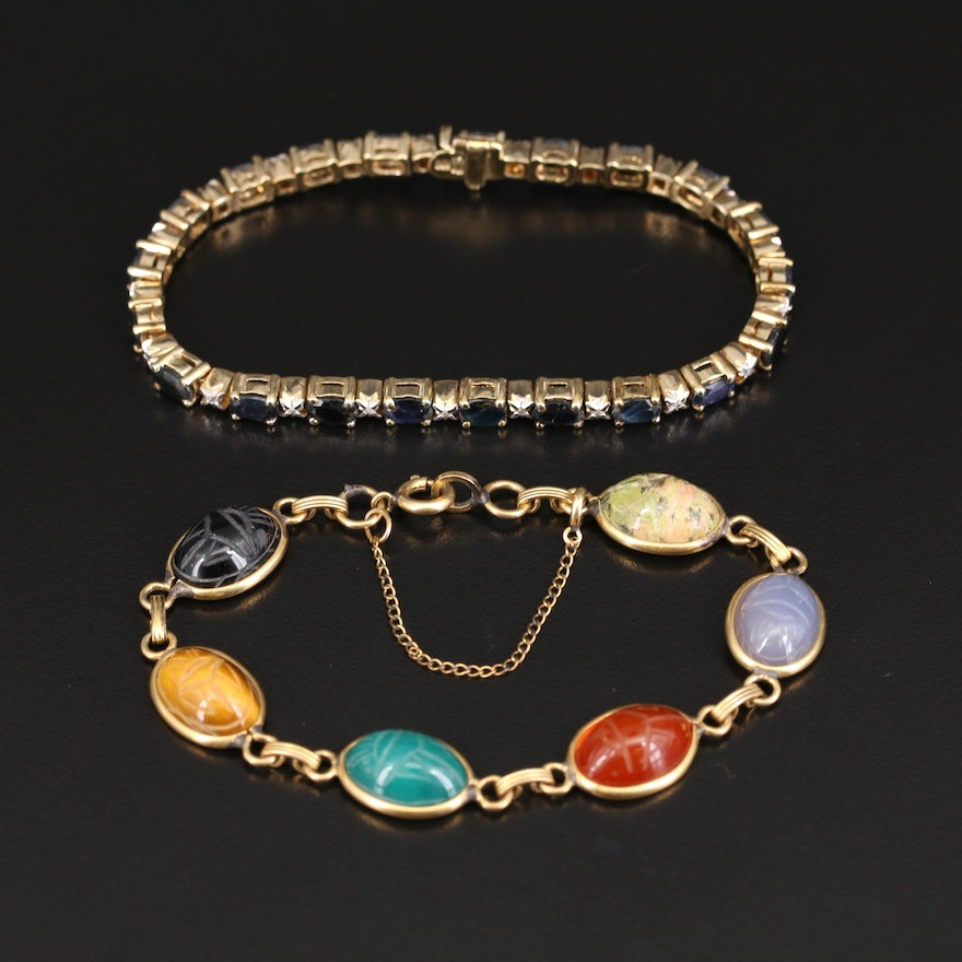 Sterling and Gold-Filled Sapphire, Diamond and Tiger's Eye Quartz Bracelets