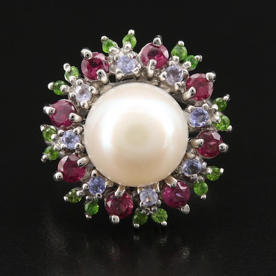 Sterling Pearl Ring Surrounded by Garnet and Tanzanite Halo