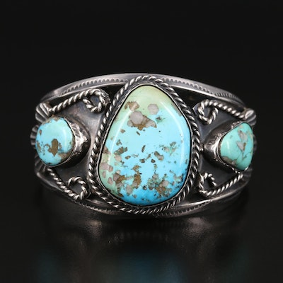 Southwestern Sterling Silver Turquoise Cuff with Rope Details