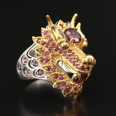 Sterling Garnet and Diopside Chinese Dragon Ring
