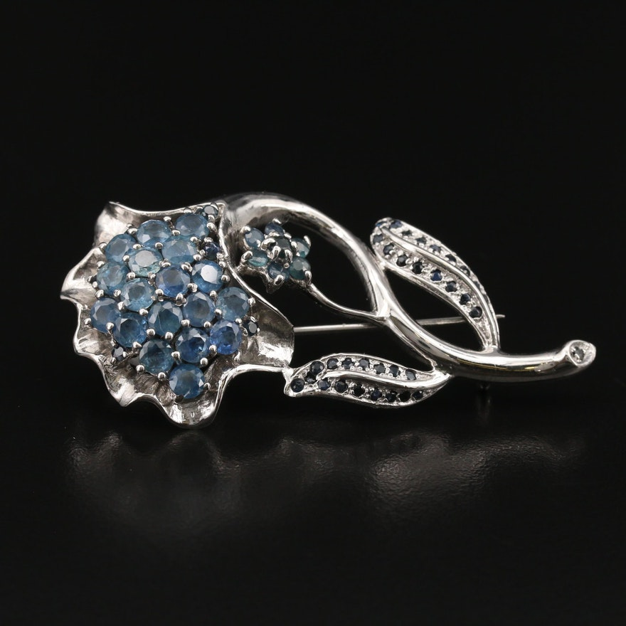 Sterling Sapphire and Corundum Floral Brooch