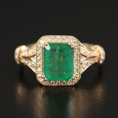 EFFY 14K 2.19 CT Emerald and Diamond Split Shoulder Ring