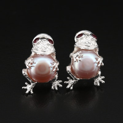 Sterling Pearl and Garnet Frog Earrings