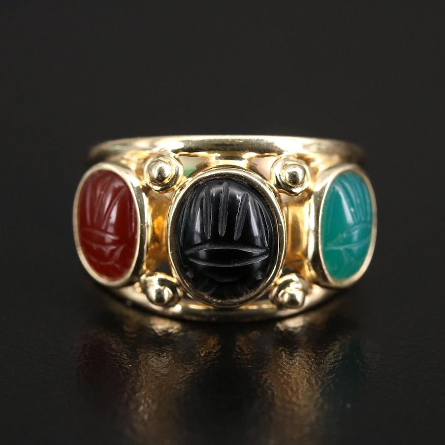 14K Chalcedony, Black Onyx and Carnelian Scarab Ring