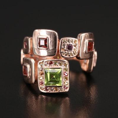 Sterling Peridot, Garnet and Sapphire Geometric Ring