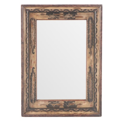 Pottery Barn Paint-Decorated Beveled Wooden Wall Mirror