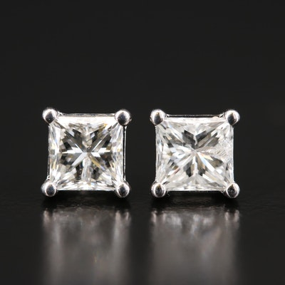 Platinum 1.58 CTW Diamond Stud Earrings with GIA Dossier