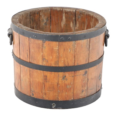 American Primitive Staved Pine and Metal-Banded Bucket