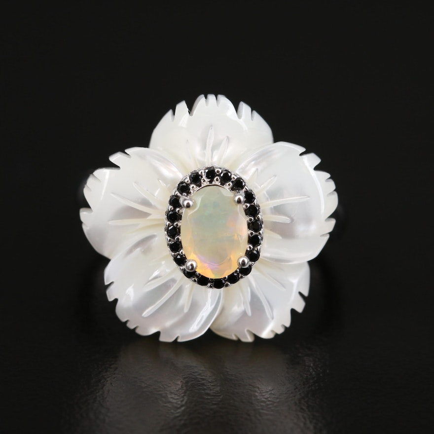 Sterling Opal, Mother of Pearl and Cubic Zirconia Flower Ring