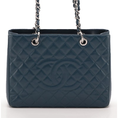 Chanel CC Grand Shopping Tote in Quilted Blue Caviar Leather