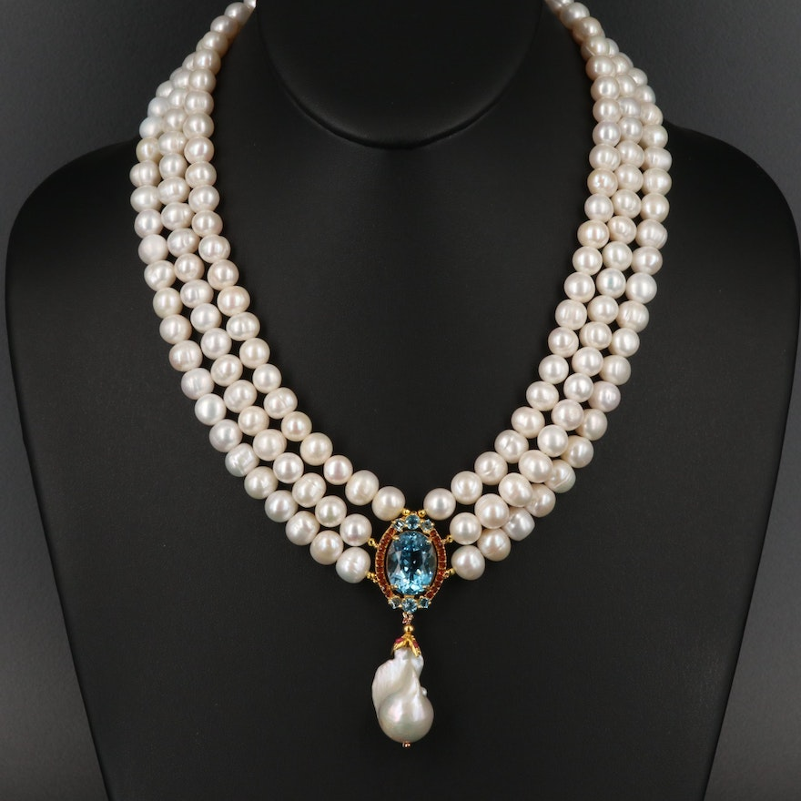 Sterling Pearl, Topaz, Corundum and Cubic Zirconia Necklace