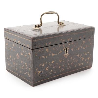English Regency Chinoiserie Papier-Mâché Tea Caddy, Early to Mid 19th Century