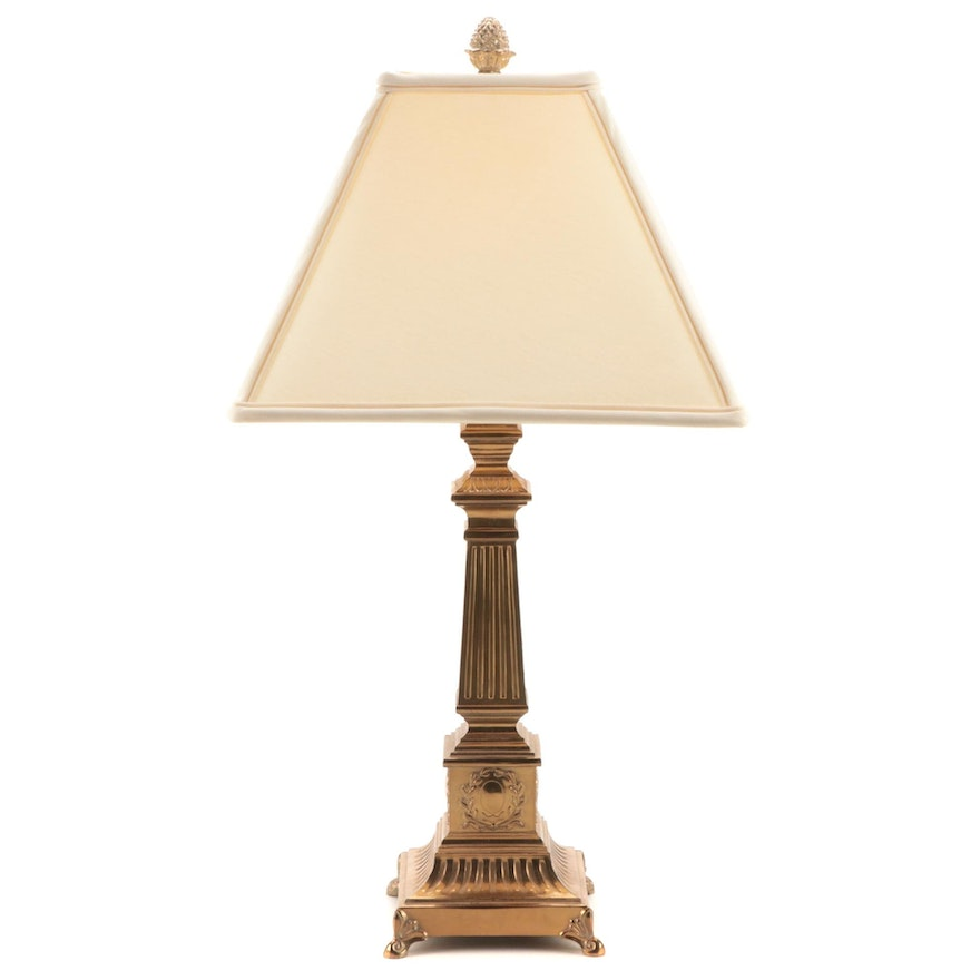 Neoclassical Style Brass Table Lamp, Late 20th Century