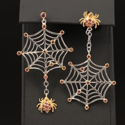 Sterling Rhodolite Garnet and Diopside Spider and Web Asymmetrical Earrings