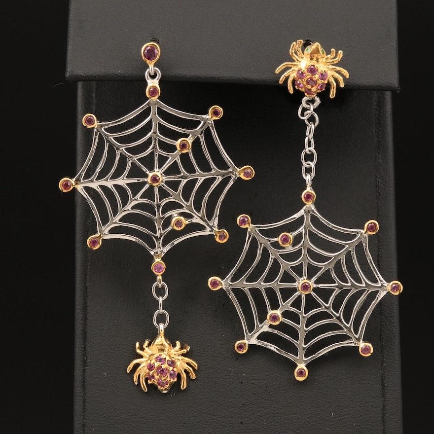 Sterling Rhodolite Garnet and Diopside Spider and Web Asymmetrical Earrings