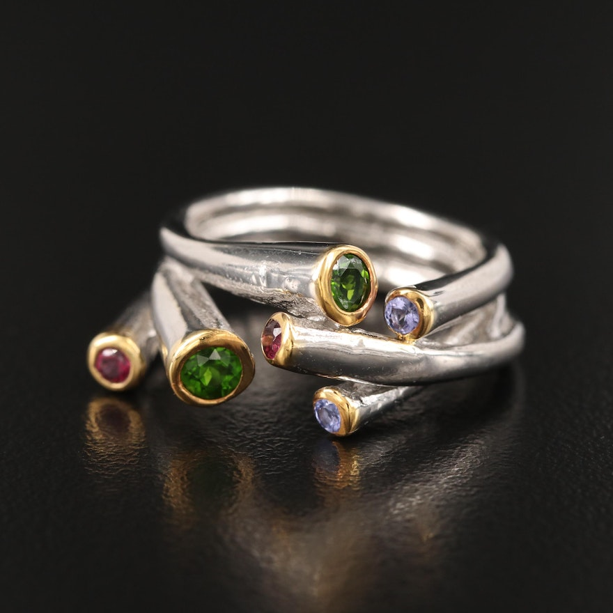 Contemporary Sterling Diopside, Garnet and Tanzanite Ring