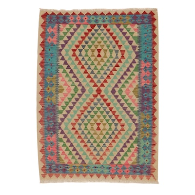 4'1 x 5'10 Handwoven Turkish Village Kilim Rug, 2010s