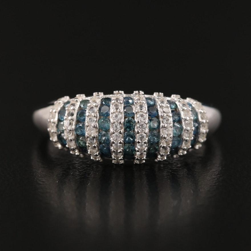 Sterling Sapphire Fluted Ring