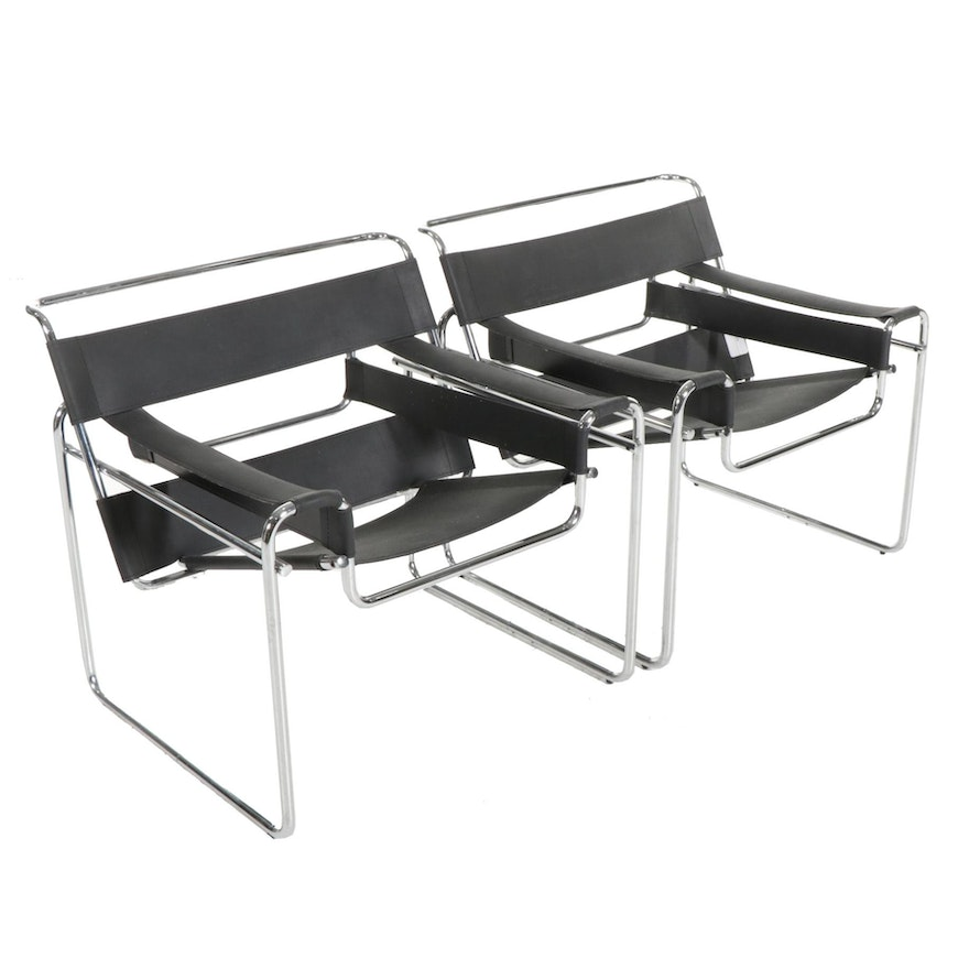 """Pair of Italian """"Wassily"""" Style Lounge Chairs, after Marcel Breuer"""