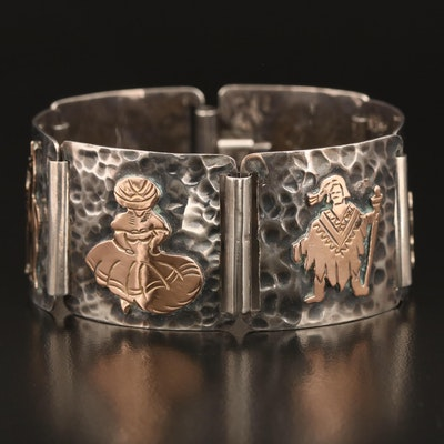 Peruvian Sterling Storyteller Panel Bracelet with 18K Accents