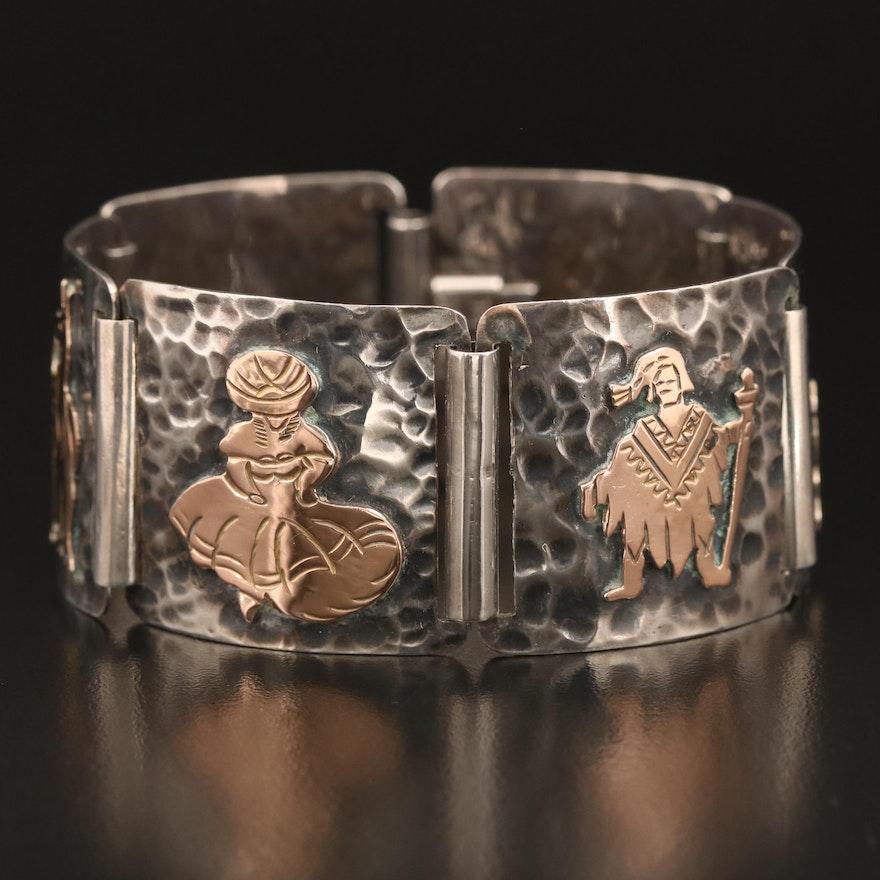 Peruvian Sterling Storyteller Panel Bracelet with 18K Accents