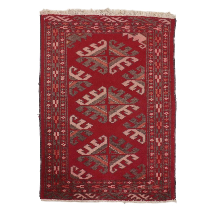 2' x 2'10 Hand-Knotted Persian Turkmen Rug, 1970s