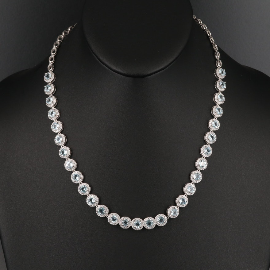Sterling Topaz and Cubic Zirconia Link Necklace