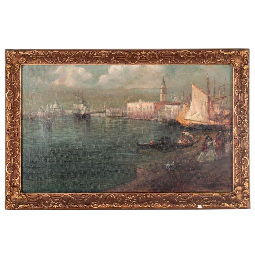 European Harbor Scene Oil Painting, Early to Mid-20th Century