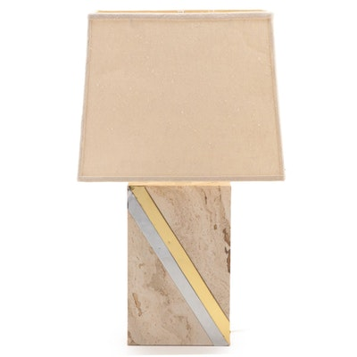 Modernist Metal-Mounted Travertine Table Lamp, Mid to Late 20th Century