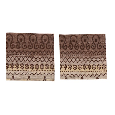 2' x 2' Hand-Knotted Indian Bamboo Silk Floor Mats, 2010s