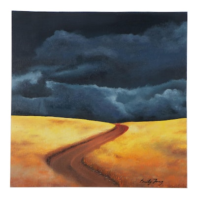Oil Painting of Storm Clouds Over a Road and Fields