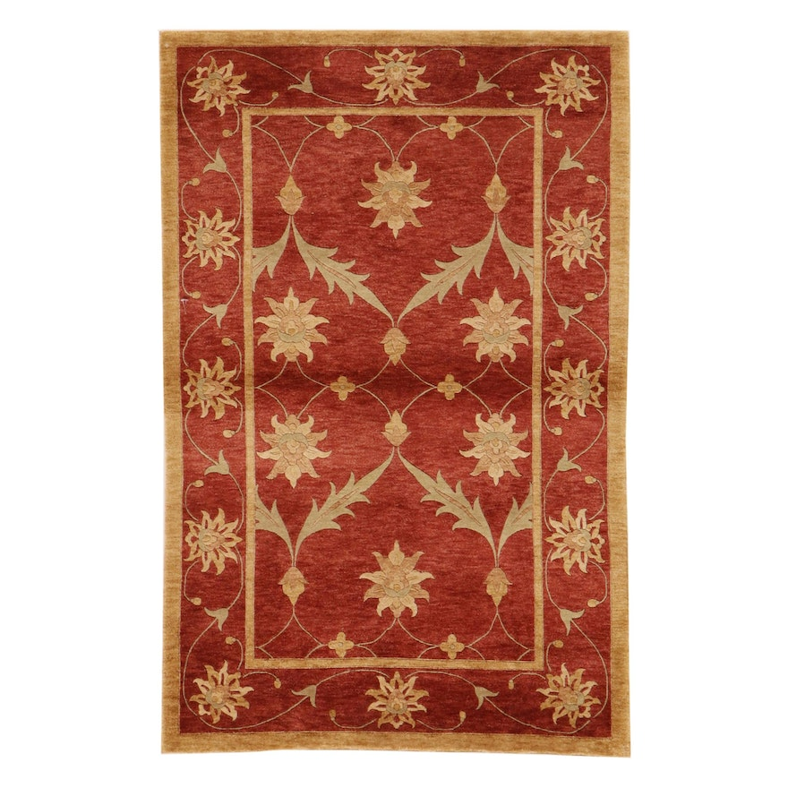 3'9 x 5'10 Hand-Knotted Pakistani Carved Pile Rug, 2010s