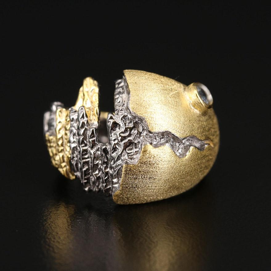 Brutalist Sterling Spinel Ring