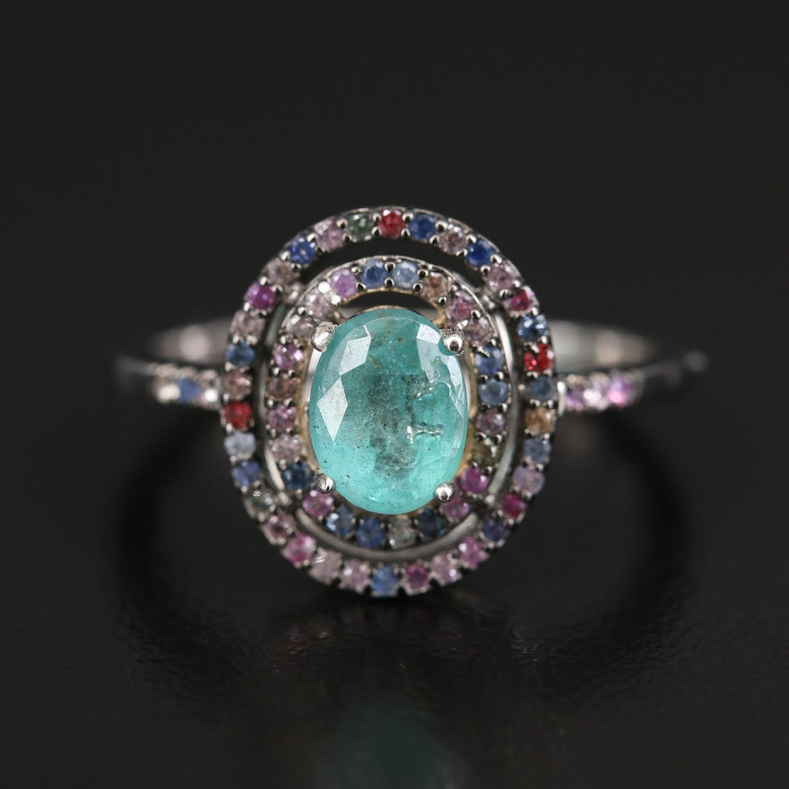Sterling Emerald and Sapphire Double Halo Ring