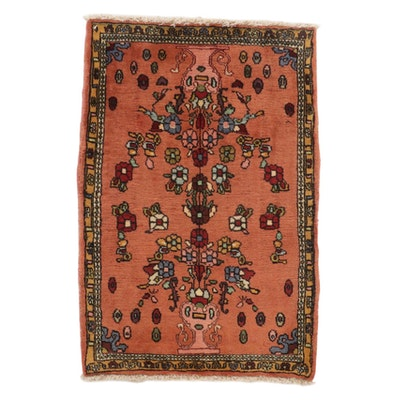 1'9 x 2'8 Hand-Knotted Persian Malayer Rug, 1980s