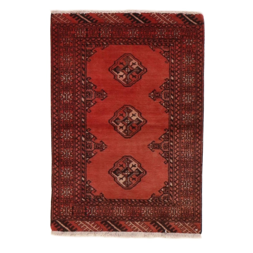 2'1 x 3'2 Hand-Knotted Persian Turkmen Rug, 1970s