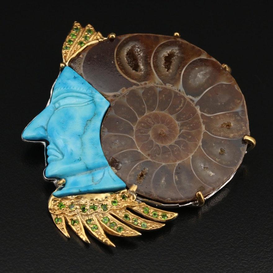 Sterling Figural Headdress Slide Pendant with Ammonite and Gemstones