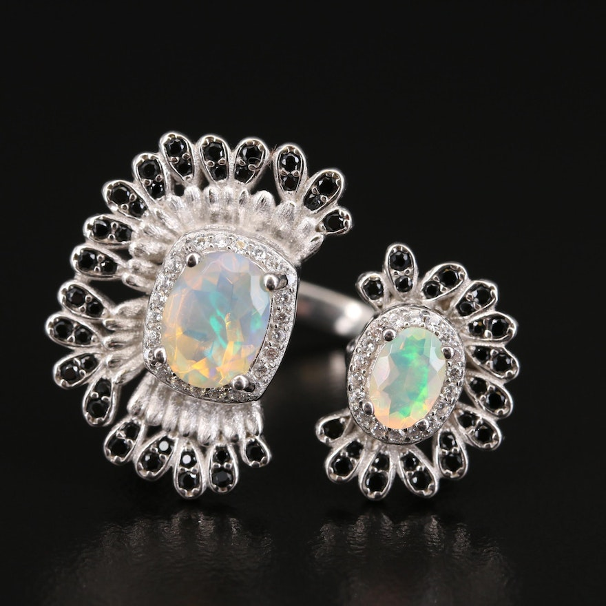 Sterling Opal, Spinel and Cubic Zirconia Open Shank Ring