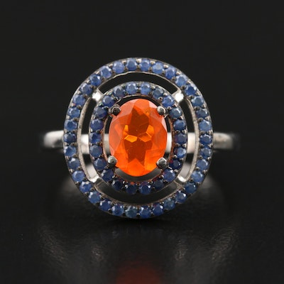 Sterling Fire Opal Ring with Double Sapphire Halo