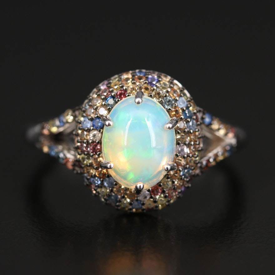 Sterling Opal and Sapphire Dome Halo Ring