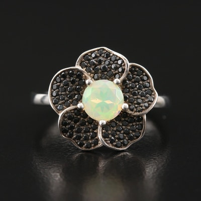 Sterling Opal Flower Ring with Pavé Cubic Zirconia Petals
