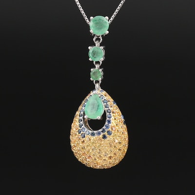 Sterling Emerald and Pavé Sapphire Slide Pendant Necklace
