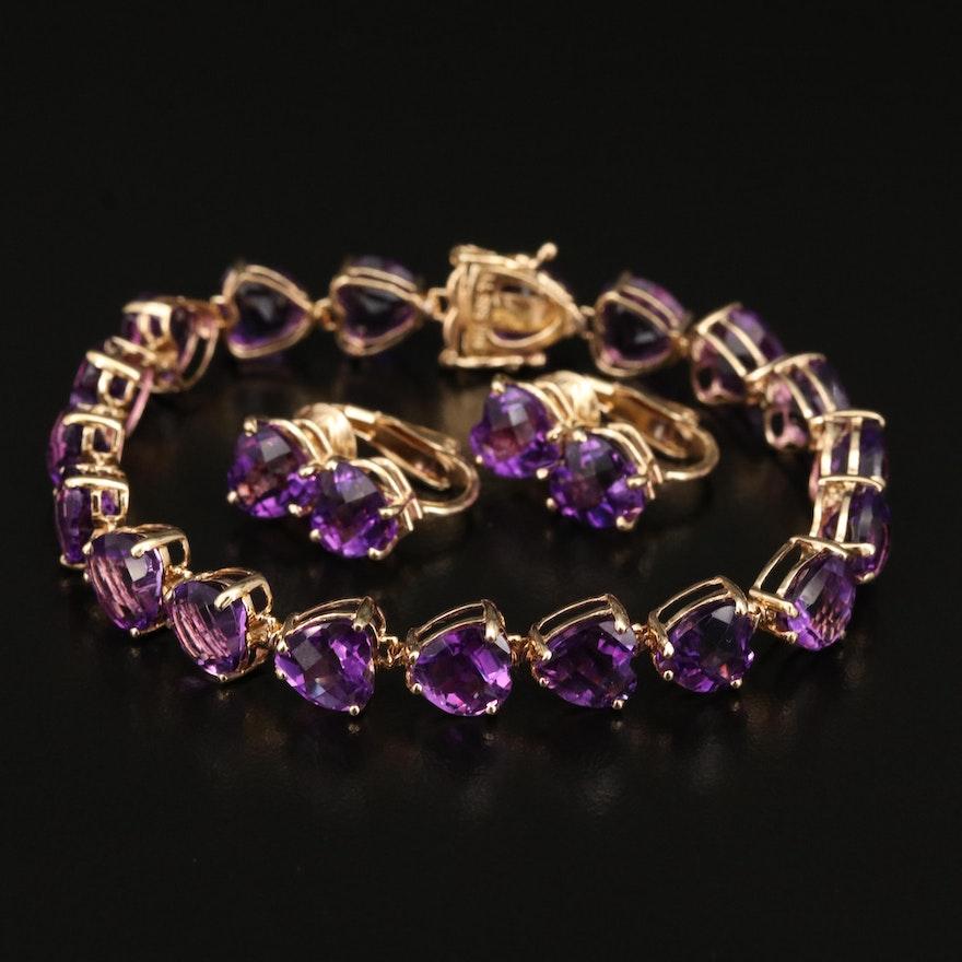 14K Amethyst Heart Bracelet and Earring Set