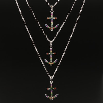 EFFY Sterling Sapphire and Tsavorite Mariner's Cross Necklaces