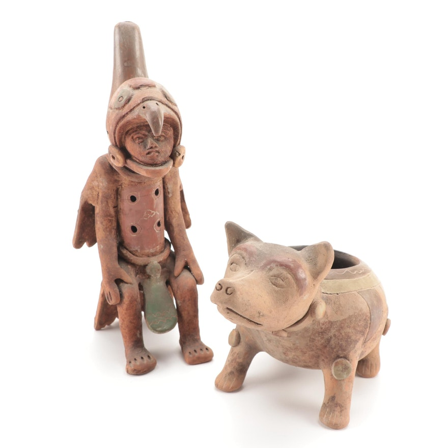 Pre-Columbian Style Terracotta Figure and Dog Vessel