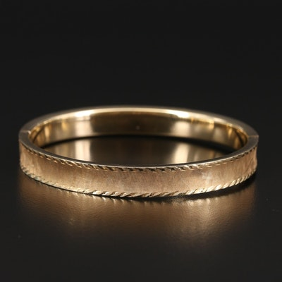 14K Concave Hinged Bangle with Florentine Finish
