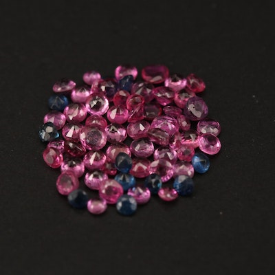 Loose 2.95 CTW Round Faceted Rubies and Sapphires