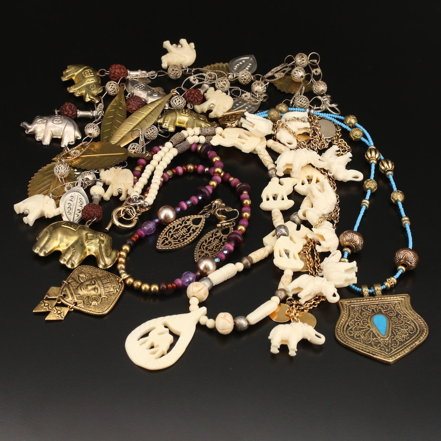 Elephant Beaded Necklaces and Multicultural Jewelry